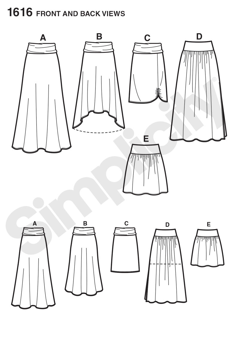 1616 Simplicity Pattern Misses Knit or Woven Skirts